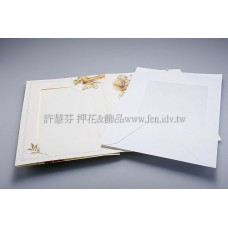 英國進口紙彩繪相框4折卡(米色,方)