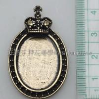 皇冠橢圓形吊墬4×2.5cm-2個