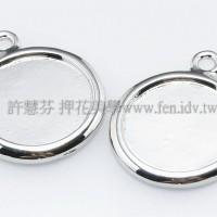 正白花漾圓形墜飾22mm-1個