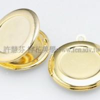 精緻相片夾金色圓形墜飾21*23mm-2個