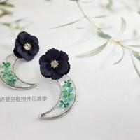 月夜-灌膠押花植物耳環