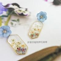 花之海藍--灌膠押花植物耳環