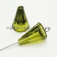5540施華洛圓錐形17mm橄欖綠色-2個