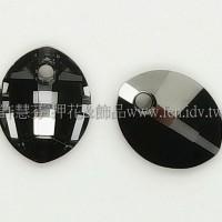 6734施華洛葉子雙孔23mm銀色夜彩-2個