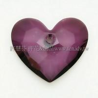 6264施華洛扁心28mm古典紫-1個