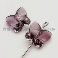 5754施華洛蝴蝶直洞10mm混合紫-6個