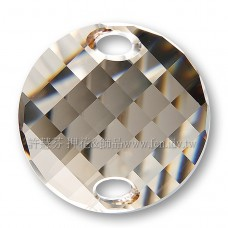 18mm施華洛3221圓形波浪雙孔水晶001GSHA18mm夢幻影子1個