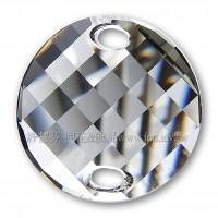 28mm施華洛3221圓形波浪雙孔水晶001GSHA28mm銀色月光1個
