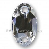 施華洛3231橢圓形立體雙孔001MOL水晶23x14mm銀色月光1個