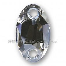 施華洛3231橢圓形立體雙孔001MOL水晶28x17mm銀色月光1個