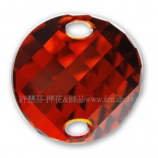 18mm施華洛3221圓形波浪雙孔水晶001REDM18mm紅色夢幻1個