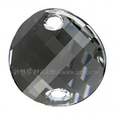18mm施華洛3221圓形波浪雙孔水晶21518mm灰鑽石色1個