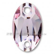 施華洛3231橢圓形立體雙孔223水晶28x17mm粉紅1個