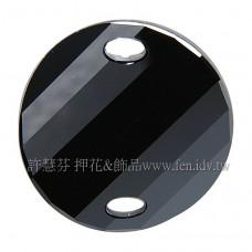 28mm施華洛3221圓形波浪雙孔水晶280Jet28mm黑寶石1個