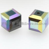 5601施華洛方形珠280-6mm黑玉+AB-6個