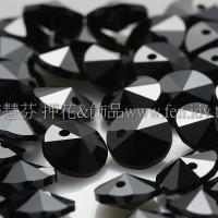 6200施華洛雙面圓錐形黑礦石6mm-10個