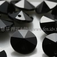 施華洛6200雙面圓錐形黑礦石8mm-10個