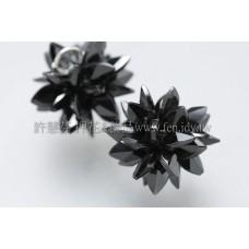 花朵綻放晶鑽黑鋯石墜飾-12mm-1個