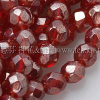 捷克棗形珠4mm亮彩櫻桃紅色-50個