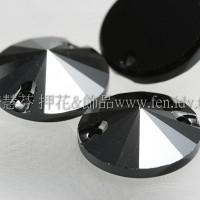 3200施華洛圓錐形雙孔-12mm亮光黑礦石-2個