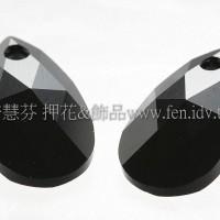 6106施華洛水滴形-黑礦石16mm-1個