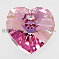 施華洛6202心形桃粉色10*10mm-6個