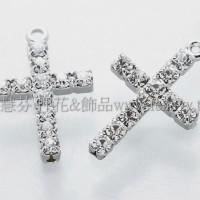 十字架晶鑽連接墜飾-18*10mm-2個