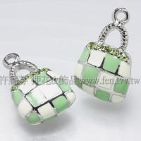 琺瑯水鑽格紋包墜飾正白+綠-23*15mm-1個
