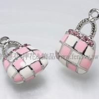 琺瑯水鑽格紋包墜飾正白+粉紅-23*15mm-1個