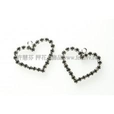 黑色心形晶鑽-20x20mm-1個