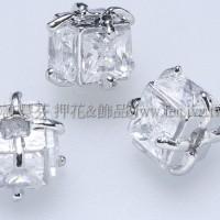 立體方形晶亮鋯石珠-7mm-1包-2個