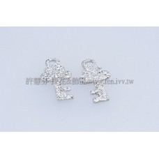 霧彩鑰匙形單孔配件-5x10mm-10個