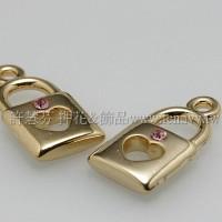 金色水鑽造型鎖頭-9.8*18.9mm-2個
