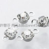 透明色雙洞爪鑽墜飾-4mm-10個