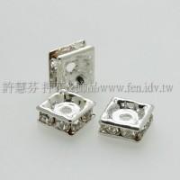 6mm方形銀彩隔珠水晶色-1包-8個