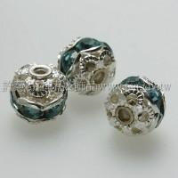8mm圓球形銀彩隔珠-水藍色-6個