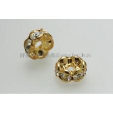 6mm扁圓形金彩隔珠-水晶色-8個