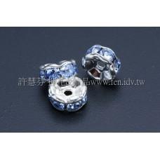5mm扁圓形銀彩隔珠-水藍色-10個