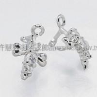 蝴蝶結晶鑽墜飾夾頭正白-13mm-2個