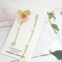 粉綠香堇花珍珠真花耳環飾品
