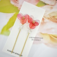 紅紫香堇花水晶流蘇真花耳環飾品