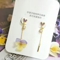 黃紫香堇花水鑽愛心耳環飾品