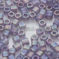 1.5mm方管日本珠-透明彩虹冰霜紫色-5g