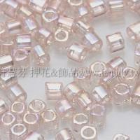 1.5mm方管日本珠-透明彩虹水蜜桃色-5g
