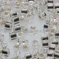 1.5mm方管日本珠-透明水晶灌銀色-5g