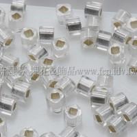 1.5mm方管日本珠-透明霜白水晶灌銀色-5g