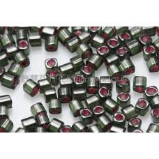 1.5mm方管日本珠-橄欖綠灌銀和桃紅-5g