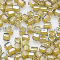 1.5mm方管日本珠-灰鑽光內鑲不透明中國黃色-5g