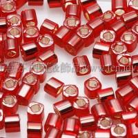 1.5mm方管日本珠-酒紅內灌銀色-5g