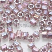 1.5mm方管日本珠-七彩水晶光內鑲玫瑰金色-5g